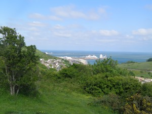 Dover harbour from above Aycliff